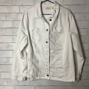 Chicos White Denim Jacket  Frayed Hem 4/XXL